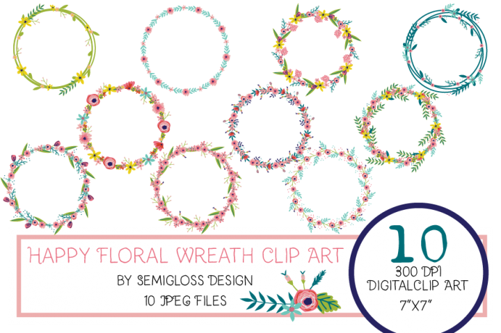 Floral Wreath Clipart with Hand-drawn Flowers