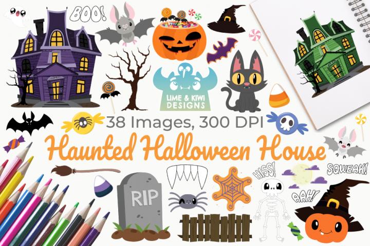 Haunted Halloween House Clipart, Instant Download Vector Art