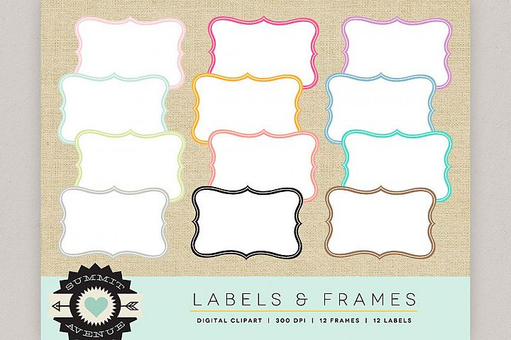 Label & Frame Shapes, Digital borders, Labels, Badges and F