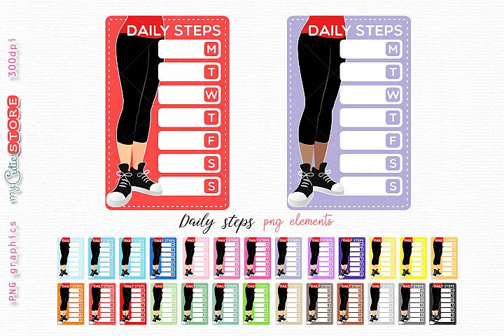Daily steps running weekly tracker boxes for planner sticker
