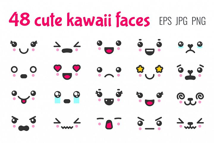 48 cute kawaii faces