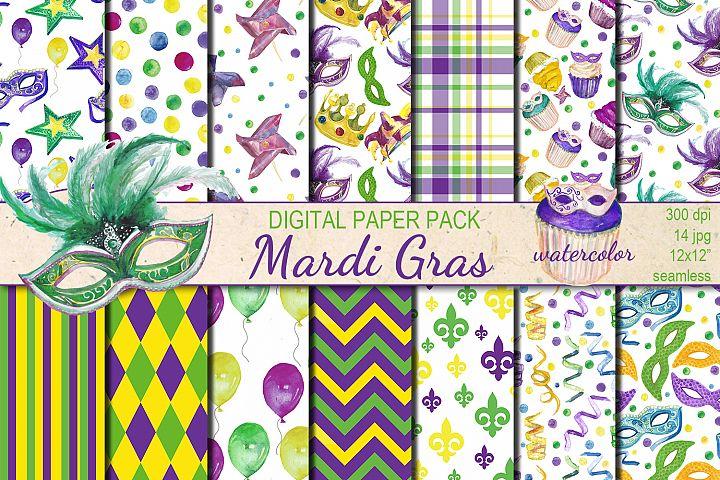 Watercolor  Mardi Gras seamless digital paper pack