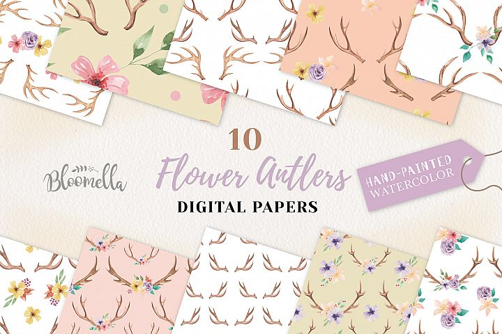 Antler Seamless Patterns Digital Papers Flowers Stag Floral