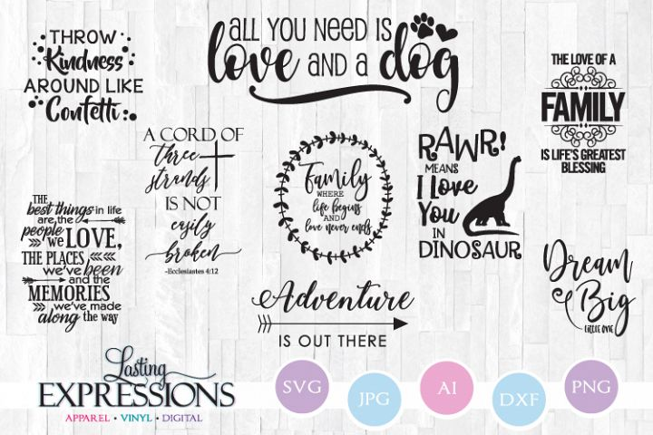 Set of 9 SVG Designs // Adventure and Family Quotes