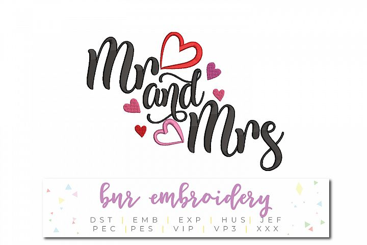 Mr. and Mrs. Machine Embroidery Design, Wedding Embroidery