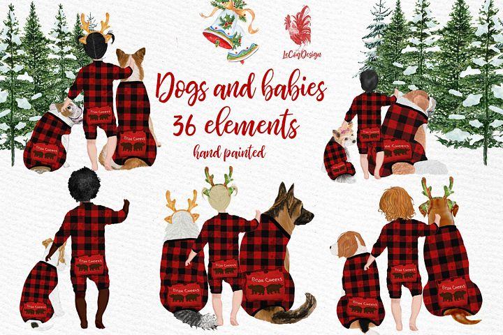 DOGS CLIPART, Baby clipart, Christmas clipart, Buffalo Plaid