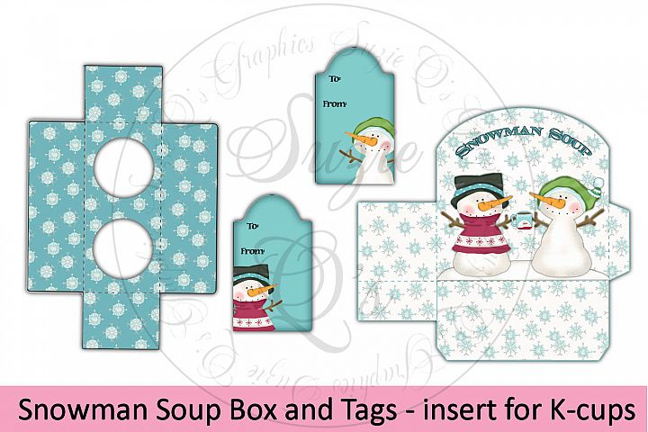 Snowman Soup Box and Tag - includes insert to hold 2 K-cups