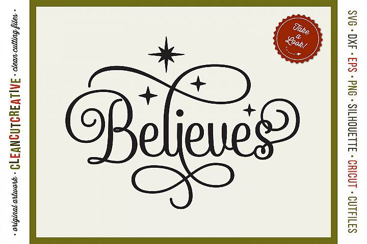 BELIEVES in the Magic - Christmas design in SVG DXF EPS PNG