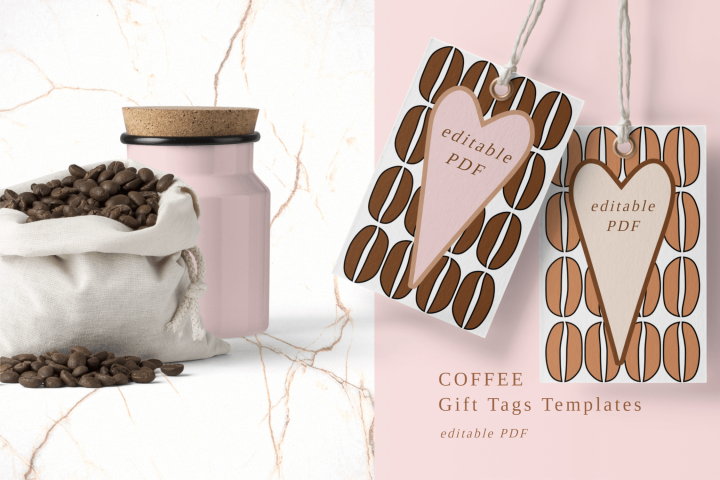 Printable Hang Tags With Coffee Beans and Hearts PDF