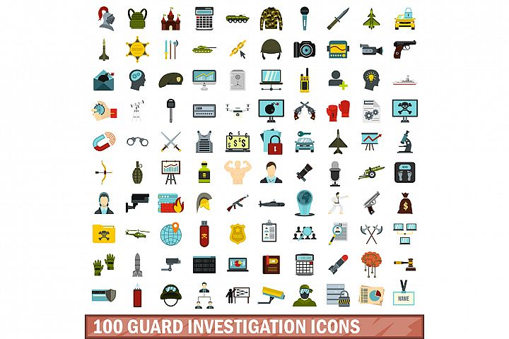 100 guard investigation icons set, flat style