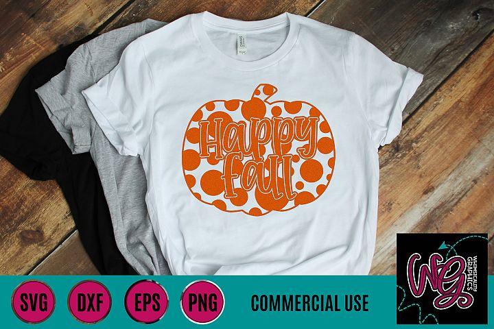 Happy Fall Polka Dot Pumpkin SVG DXF PNG EPS Comm