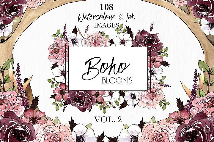 Watercolor ClipArt Boho Blooms Vol.2