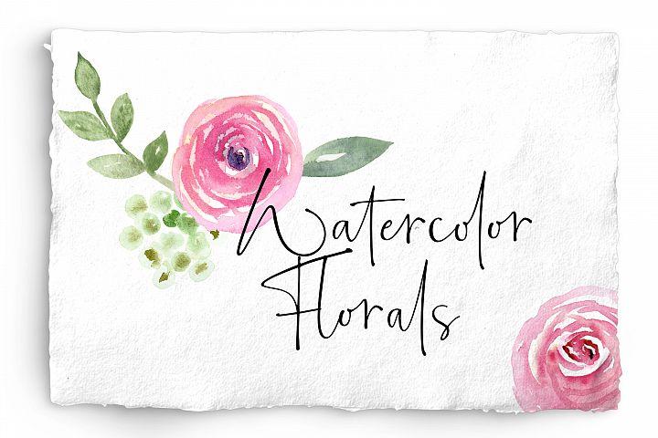 Watercolor Floral Bundle Pink, Purple Blue Flowers & Yellow