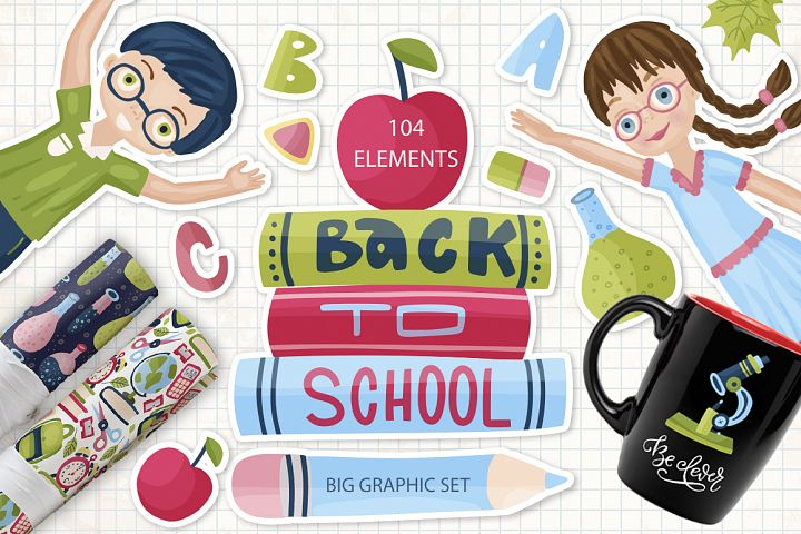 Back to School. Big graphic set.