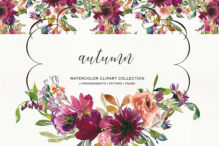 Watercolor Burgundy Autumn Flowers Clipart & Pattern