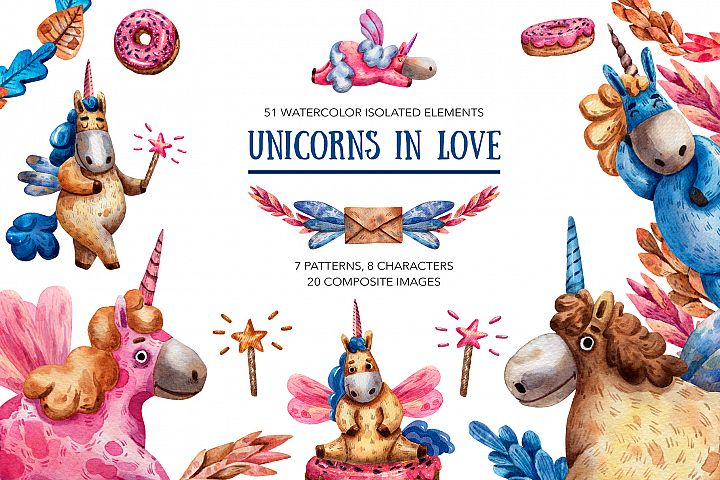Unicorns In Love - Watercolor Clip Art Set