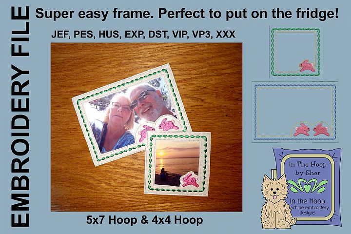 Running Bunny Picture Frames - 4 x 4 and 5 x 7 Hoops