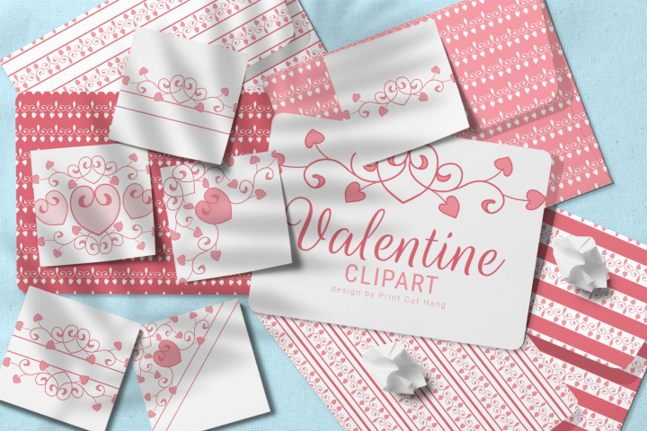 Valentine Flourish Digital Elements and Papers Set PNG files