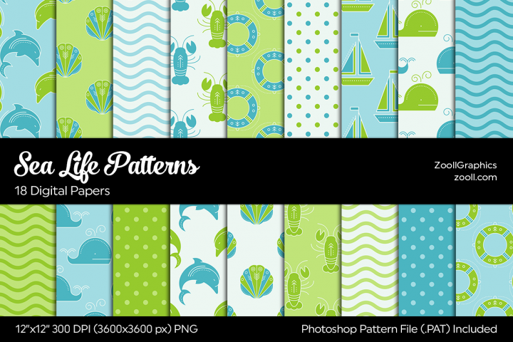 Sea Life Digital Papers Green & Blue