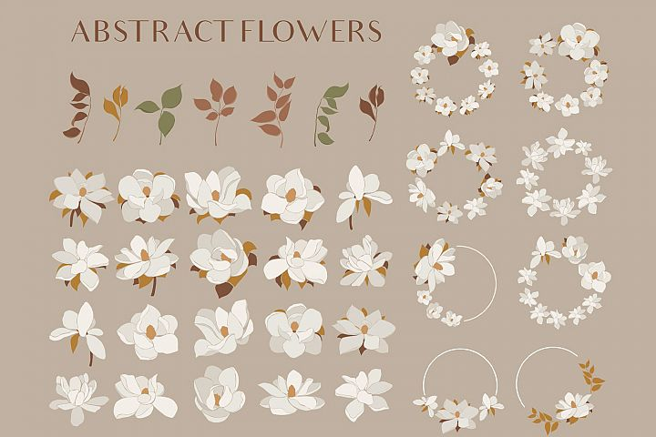 Magnolia flowers clipart. Abstract art