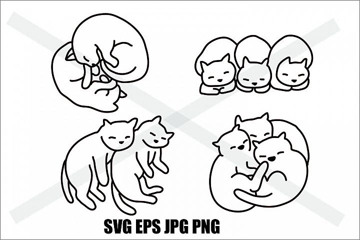 Cat Sleeping Set C - SVG EPS JPG PNG