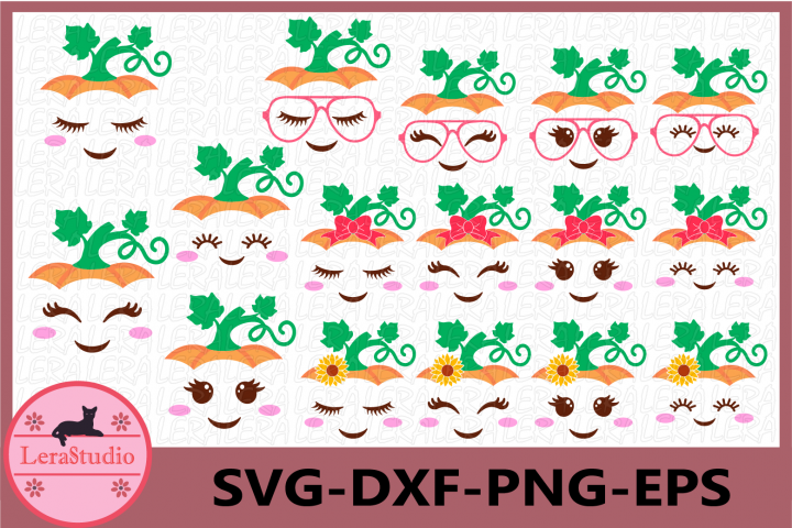 Pumpkin Face Svg, Cute Pumpkin Svg, Halloween Girls Svg