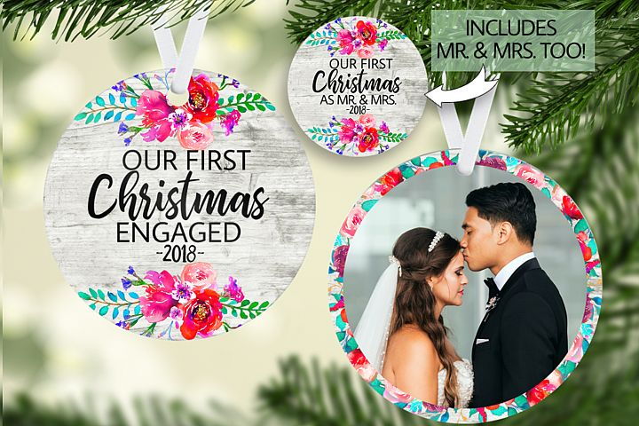 Mr & Mrs and Engaged Floral Christmas Ornament Template