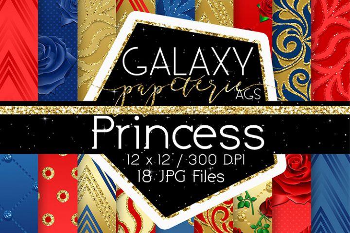 Princess & Roses Digital Paper - Gold Glitter