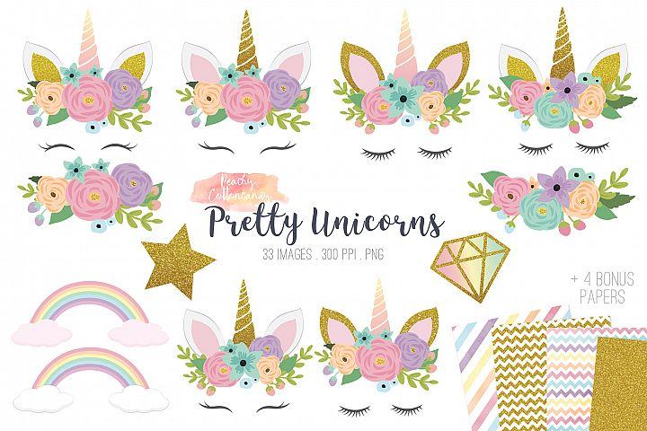 Pretty Unicorn Clipart , Rainbow Unicorn Party Clip Art