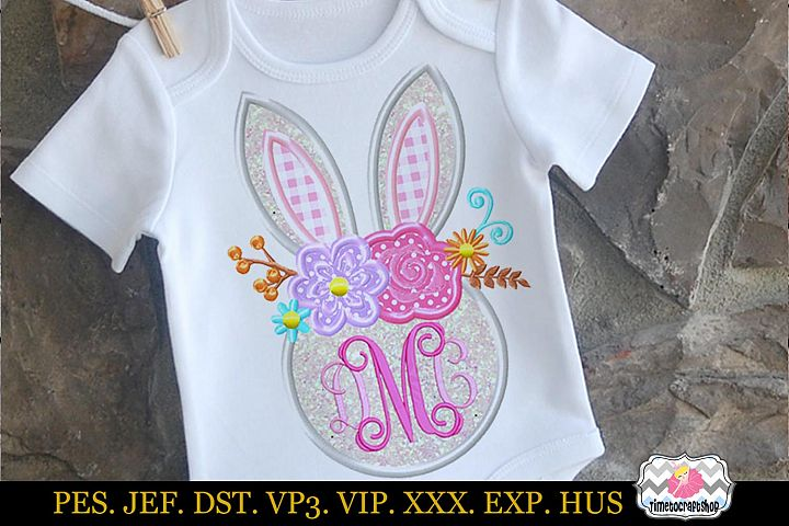 Easter bunny Head with Rose and Daisies Monogram Applique