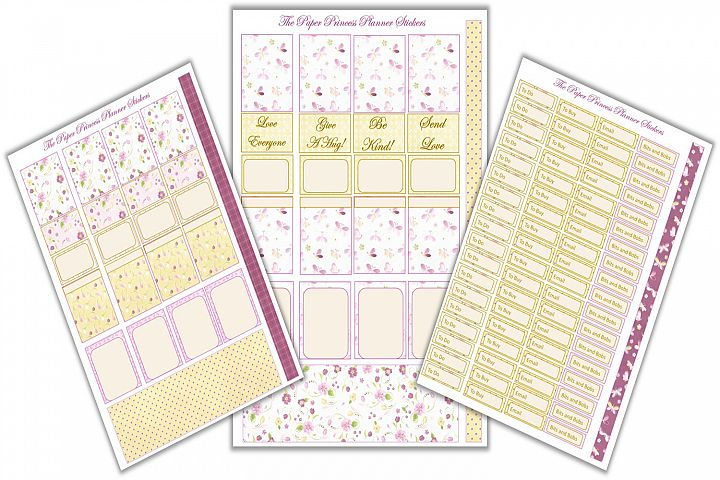 Planner Stickers 3 page pack for Spring Theme