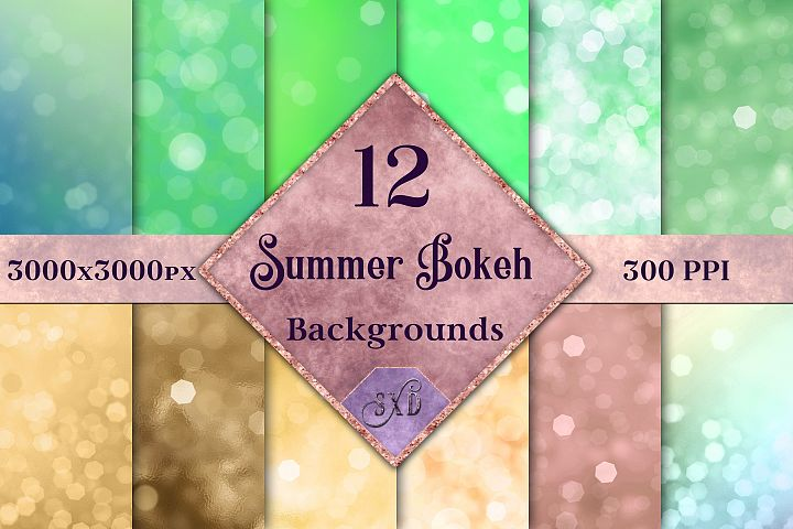 Summer Bokeh Backgrounds - 12 Image Textures Set