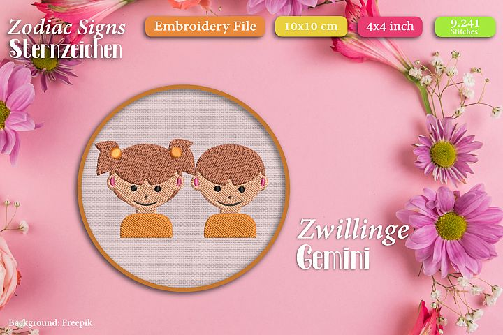Zodiac sign - Gemini - Embroidery Files