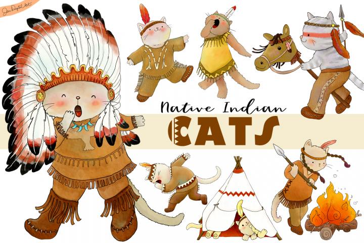 Native Indian Cats | CLIP ART | 7 PNG/JPEG illustrations