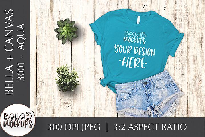 Bella Canvas 3001 Womans T Shirt Mockup, Aqua, Flat lay