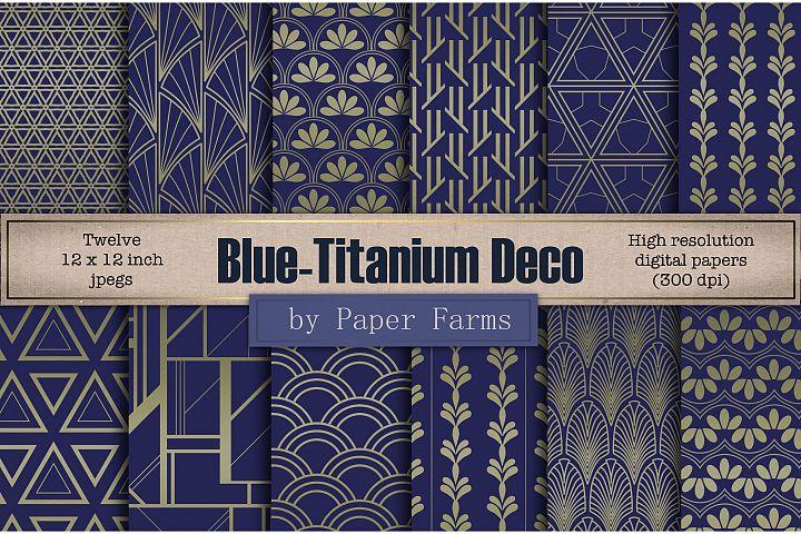 Blue titanium Art Deco backgrounds