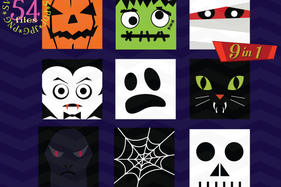 Halloween Monster Face svg - Halloween bundle Monster icons
