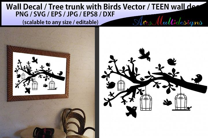 teen girl bedroom wall decal / wall decal silhouette /birds svg silhouette / tree with bird