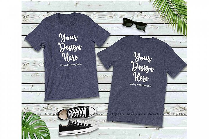 Front & Back Heather Navy Tshirt Mockup Bella Canvas 3001
