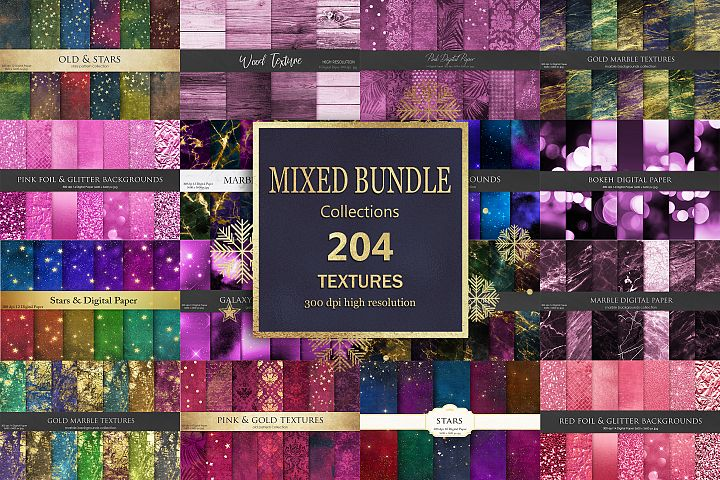 Gold Marble Pink, Burgundy Mixed Bundle 204 Textures