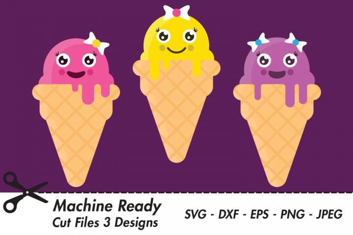 Cute Ice Cream Cone SVG Cut Files, Sweet Kawaii Food
