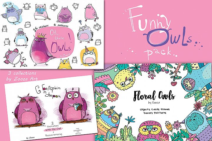 Funny Owls Bundle - 3 collections in 1 pack
