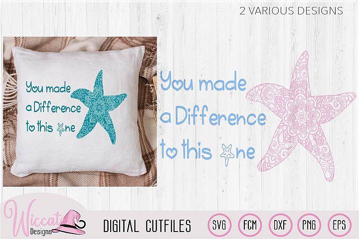 Starfish mandala, positive quote svg