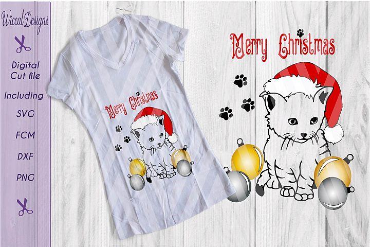 Christmas kitten, cat svg, ornaments svg, Christmas cut file
