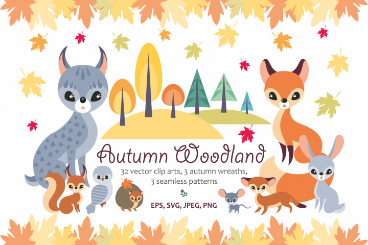 Autumn woodland. Vector animals and plants.