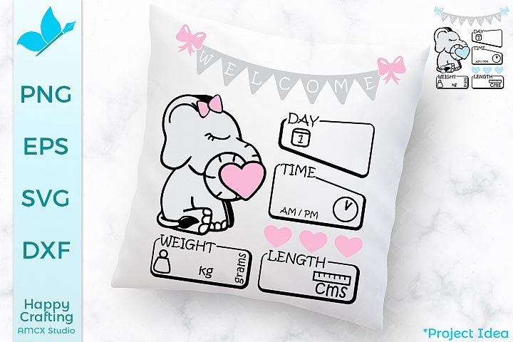 Baby Elephant SVG Files - UK Version - Baby announcement