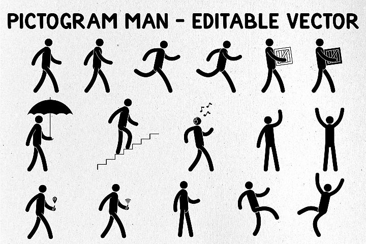 Pictogram Man Editable Poses
