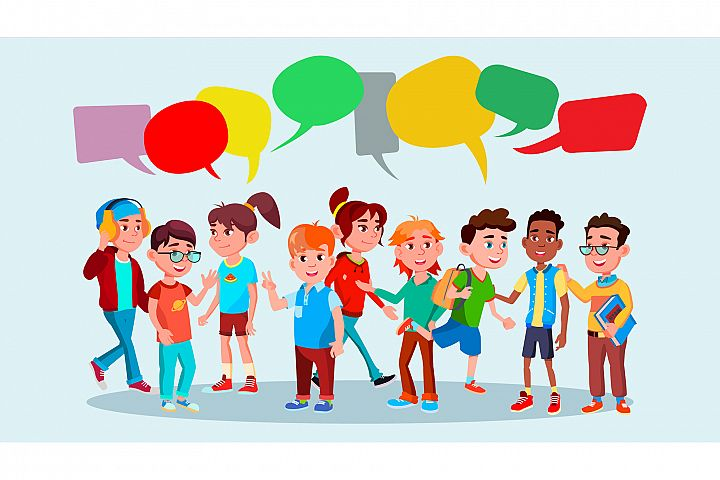 Group Of Pupils Vector. School. Mix Race. Chat Bubbles.