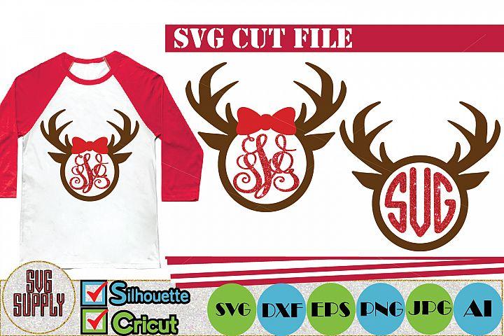 Deer Antler Monogram SVG Cut File