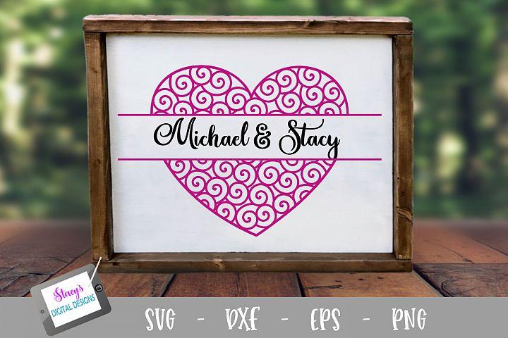 Swirly Heart Split Monogram SVG Cut File